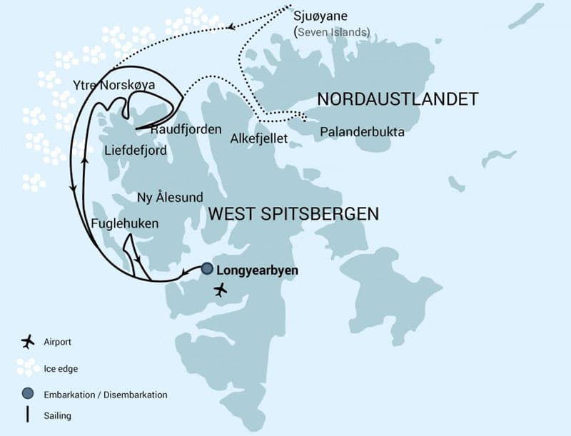 North Spitsberfgen Arctic itinerary route map.