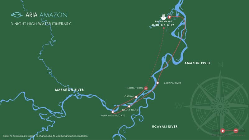 Route map of 4-day High-Water Aria Amazon River Cruise operating roundtrip from Iquitos, Peru, and traveling the Maranon and Amazon Rivers, with stops at Nauta, the Yarapa River and Yanayacu-Pucate.