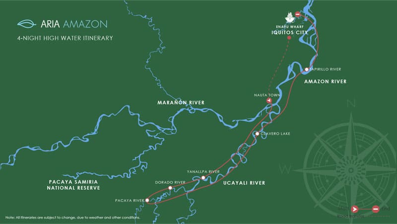 Route map of 5-day High-Water Aria Amazon River Cruise operating roundtrip from Iquitos, Peru, and traveling the Amazon and Ucayali Rivers, with stops at Nauta, Yanallpa River, El Dorado River, Pacaya River and Yarapa or Clavero River.