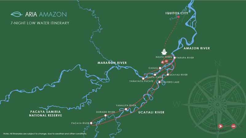 Route map of 8-day Low-Water Aria Amazon River Cruise from Iquitos, Peru, embarking in Nauta and traveling the Maranon and Ucayali Rivers, with stops at Yanayacu Pucate, the Samiria River, Nauta Caño Amazonian Natural Park, Pacaya River, Yarapa or Clavero River & San Jose Flooded Forest.