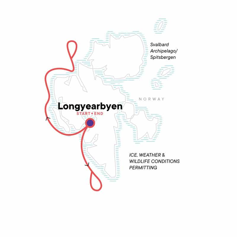 Route map for 8-day Realm of the Polar Bear Arctic small ship cruise, operating round-trip from Longyearbyen, Norway with visits along the western shoreline of Spitsbergen in the Svalbard Archipelago.