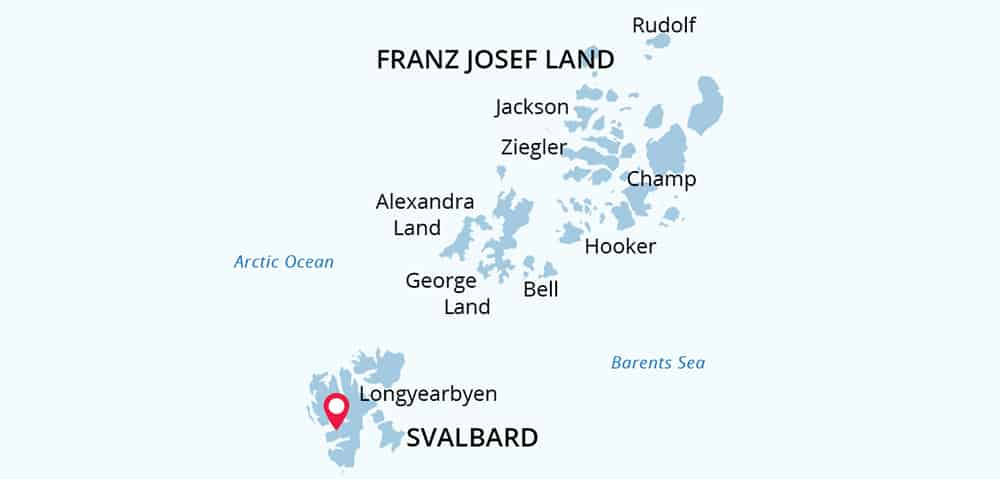 Russian High Arctic: Franz Josef Land Cruise route map.