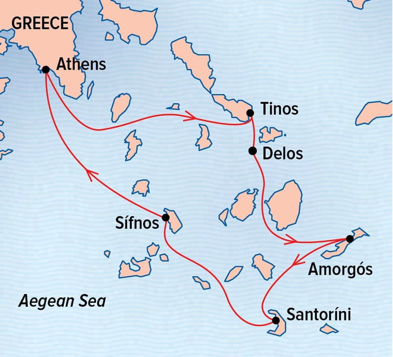Sailing Greek Isles route map to and from Athens, Greece.