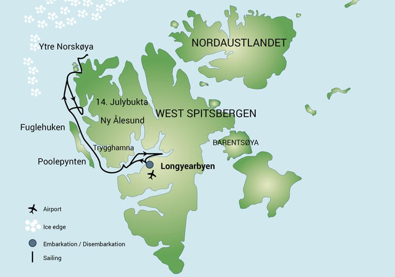 Route map of North Spitsbergen Arctic Autumn small ship cruise, operating round-trip from Longyearbyen, Norway.