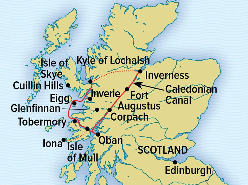 Scotland's Highlands and Islands cruise route map between Inverness & Kyle of Lochalsh.