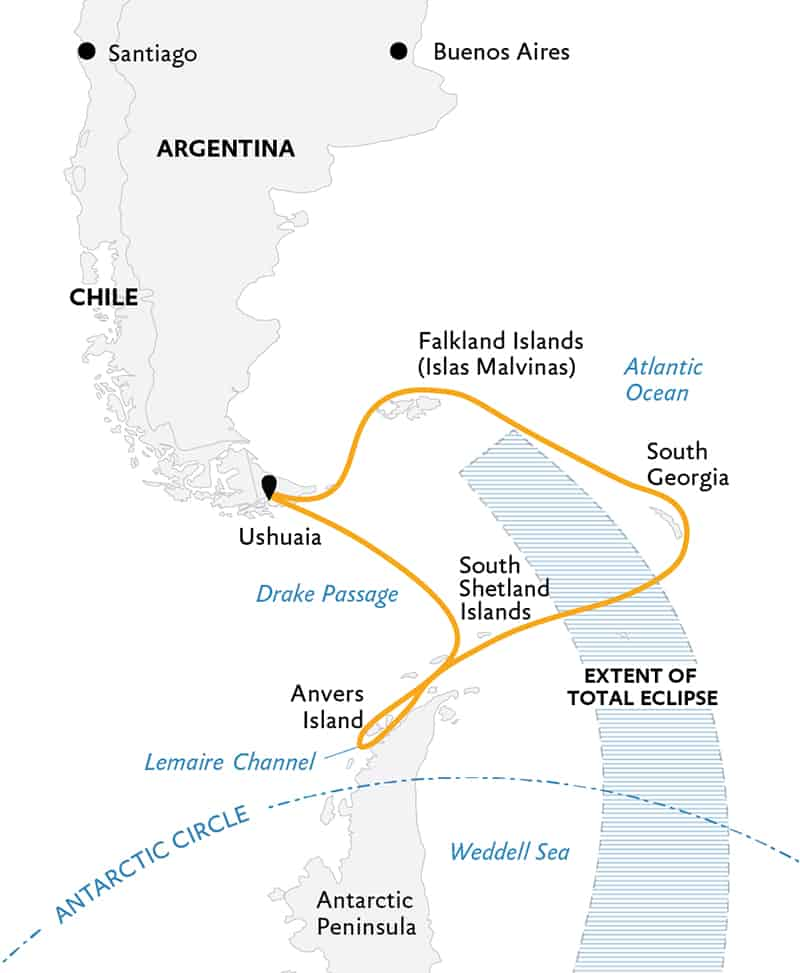 Route map of Totality in Antarctica, with South Georgia & Falkland Islands small ship cruise, operating round-trip from Ushuaia, Argentina, with visits to the Falkland Islands, South Georgia & the Peninsula.