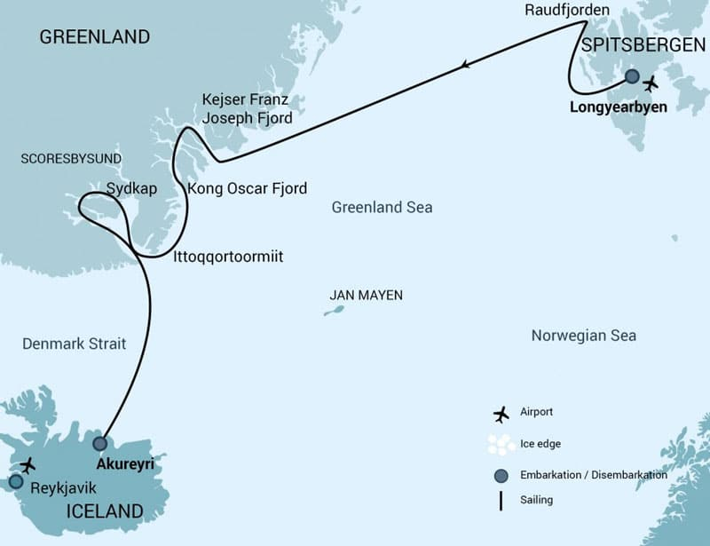 Route map of Spitsbergen - Northeast Greenland Arctic cruise, from Akureyri, Iceland, to Longyearbyen- Norway, with visits to the Scoresby Sund, Kong Oscar & Kejser Franz Joseph Fjords.