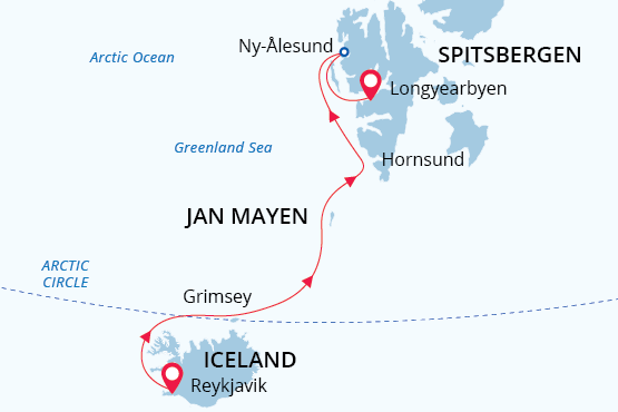 Route map of Three Pearls of the Arctic voyage, operating from Reykjavik, Iceland, to Longyearbyen, Spitsbergen, with visits along the Arctic Circle & Jan Mayen Island.