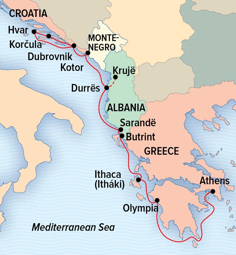 Under Sail: Greece to the Dalmation Coast route map between Athens & Dubrovnik.
