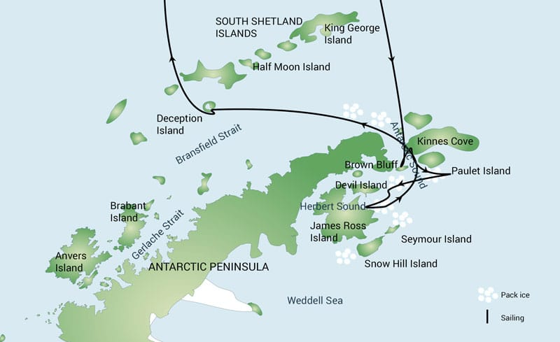 Route map of Weddell Sea Explorer Antarctica cruise, operating round-trip from Ushuaia, Argentina.