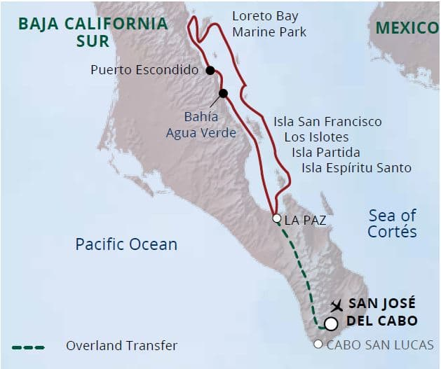Route map of Whale Sharks, Whales & Mobulas small ship cruise, operating round-trip from San Jose Del Cabo, Baja, with overland transfers to the ship in La Paz.