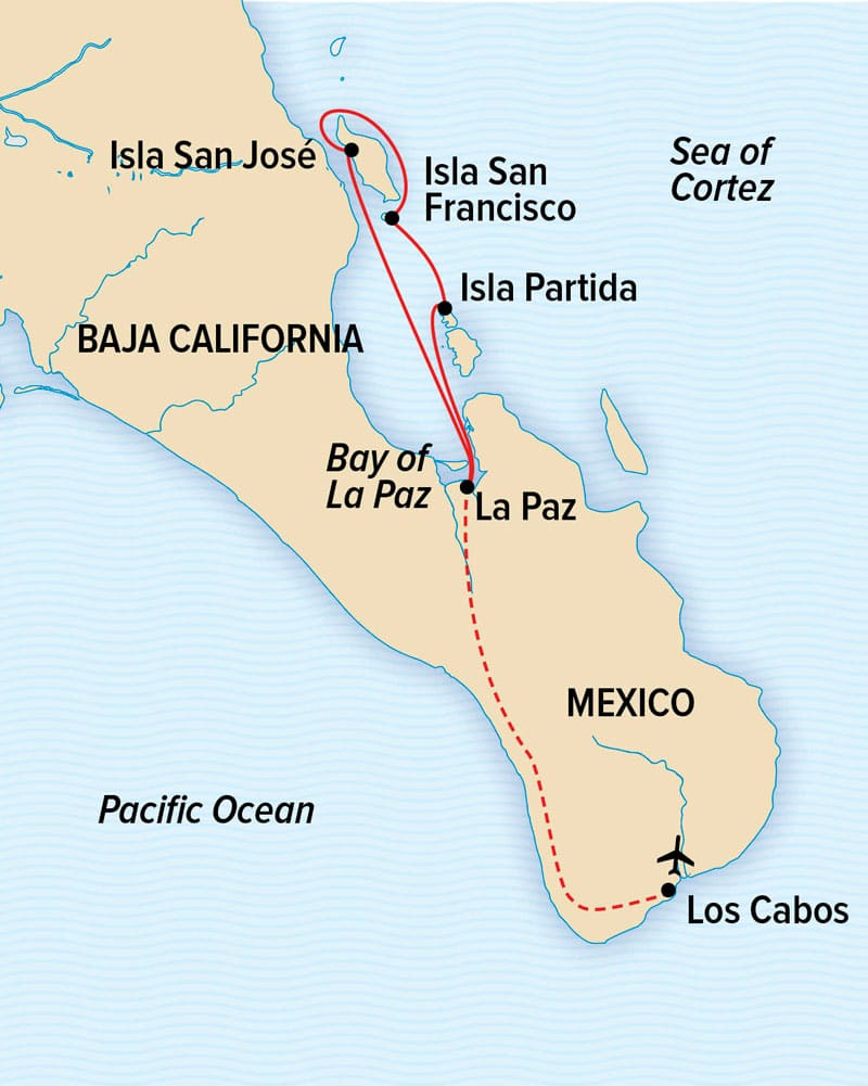 Serenity & Sea Life in the Sea of Cortez cruise through Baja route map.