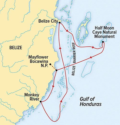 Route map of Wild Belize Escape small ship cruise, operating round-trip via Belize City, with visits to Half Moon Caye Natural Monument, Mayflower Bocawina National Park and the Monkey River.