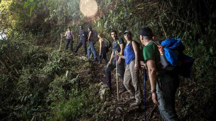 group of hikers on narrow rainforest trail on salkantay trek to machu picchu