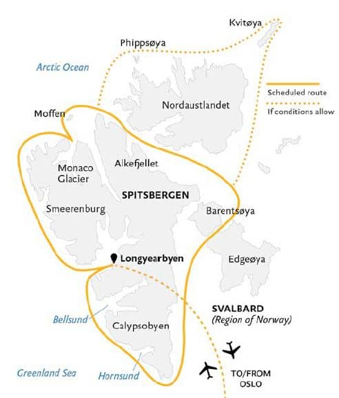 Route map of Spitsbergen In Depth arctic small ship cruise, operating round-trip from Oslo, Norway with charter flights between Oslo and Longyearbyen, Spitsbergen. Circumnavigate Spitsbergen with visits to Calypsobyen, Smeerenburg, the Monaco Glacier, Moffen, Alkefjellet, Barentsoya & Edgeoya.