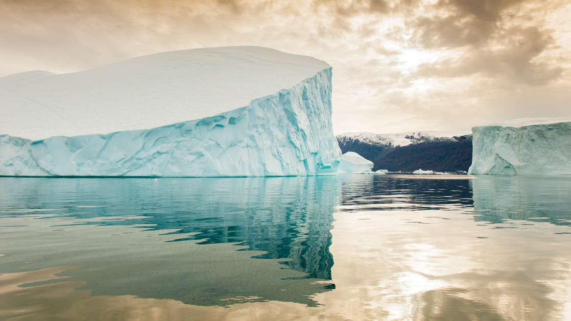 2 large blue icebergs float in still water under a sepia sky during the Spitsbergen - Northeast Greenland voyage.