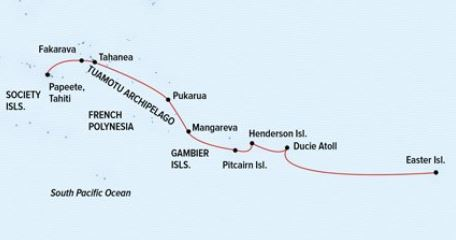 Route map of Tales of the Pacific: Easter Island to Tahiti Chile small ship cruise, operating from Santiago, Chile to Easter Island and ending in Papeete, Tahiti, with visits to the Pitcairn Islands, Mangareva, French Polynesia and the Tuamotu Archipelago.