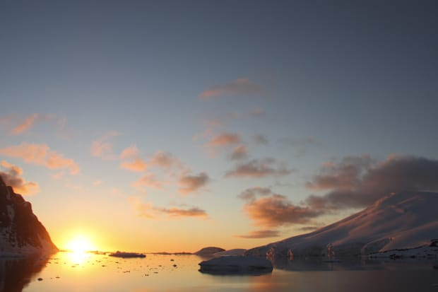 Sunset view from a small ship in Antarctica.