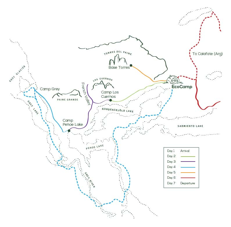 Route map of 7-day Torres Del Paine Trek, operating round-trip from Punta Arenas with visits to Los Cuernos, Valle Frances, Glacier Grey & Eastern Lakes.
