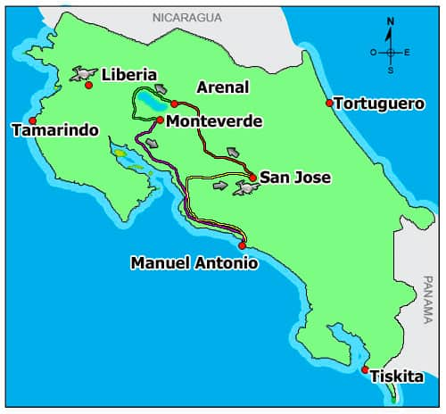 Route map of Tropical Rainforests & Manuel Antonio land tour, operating round-trip from San Jose, Costa Rica, with visits to La Paz Waterfall Gardens, Arenal, Monteverde & the national park.