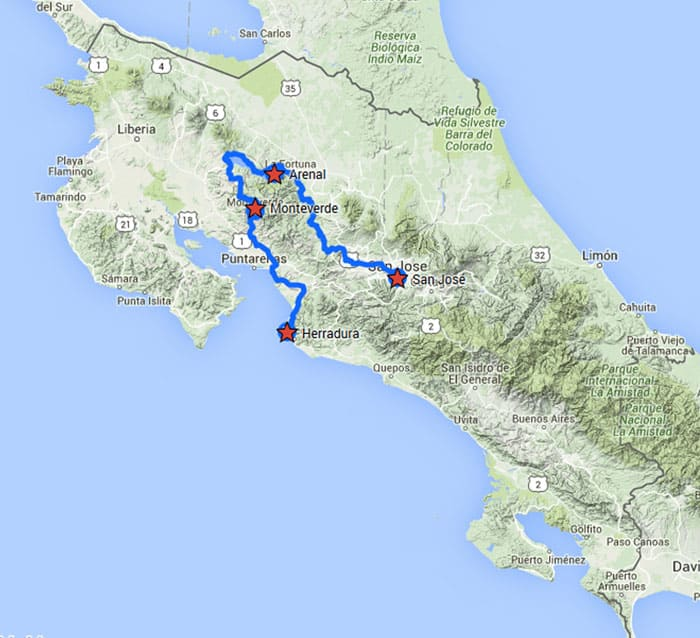 Tropical Volcano & Cloud Forest route map from San Jose to Herradura.