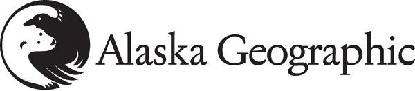 Alaska Geographic logo with polar bear and raven yin and yang graphic.