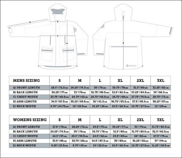 Polar expedition parka men and women's sizing chart.