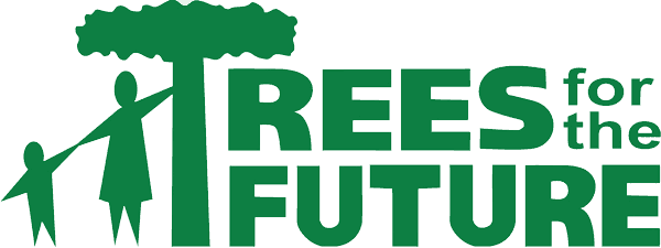 Trees for the Future logo with graphic of kid and adult reaching for a tree.