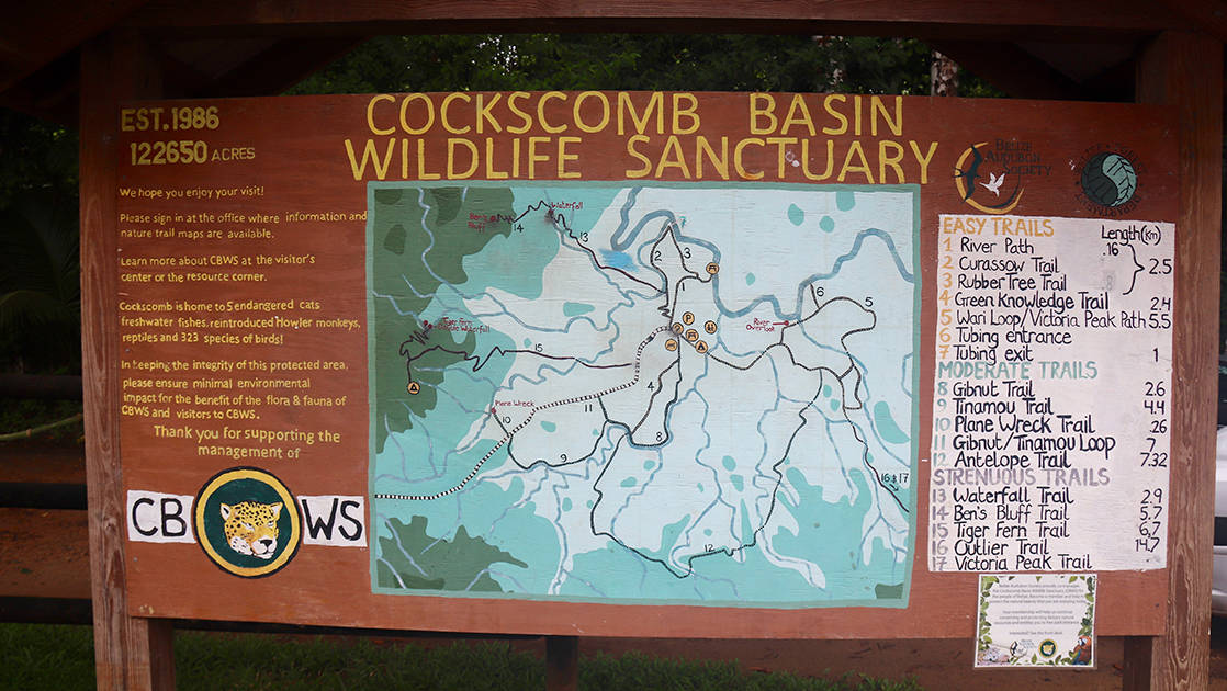 wooden sign showing map of, and visitor sites within, cockscomb basin wildlife sanctuary