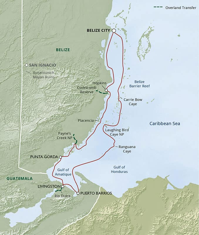 Route map of Belize & Guatemala Wonders—Rivers, Reefs & Cultures small ship cruise, operating round-trip from Belize City with visits to the Belize Barrier Reef., Payne's Creek National Park, Punta Gorda, Cockscomb Basin Wildlife Sanctuary, Carrie Bow Caye, and Guatemala destinations including Rio Dulce and Livingston.