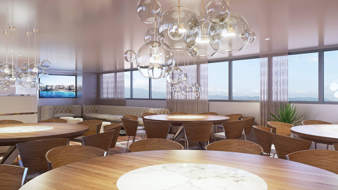 Rendering of Aurelia 2020 Mediterranean deluxe yacht showing the Dining Room with globe lighting, wood-and-marble round tables, wooden chairs, TV on wall and white leather couch.