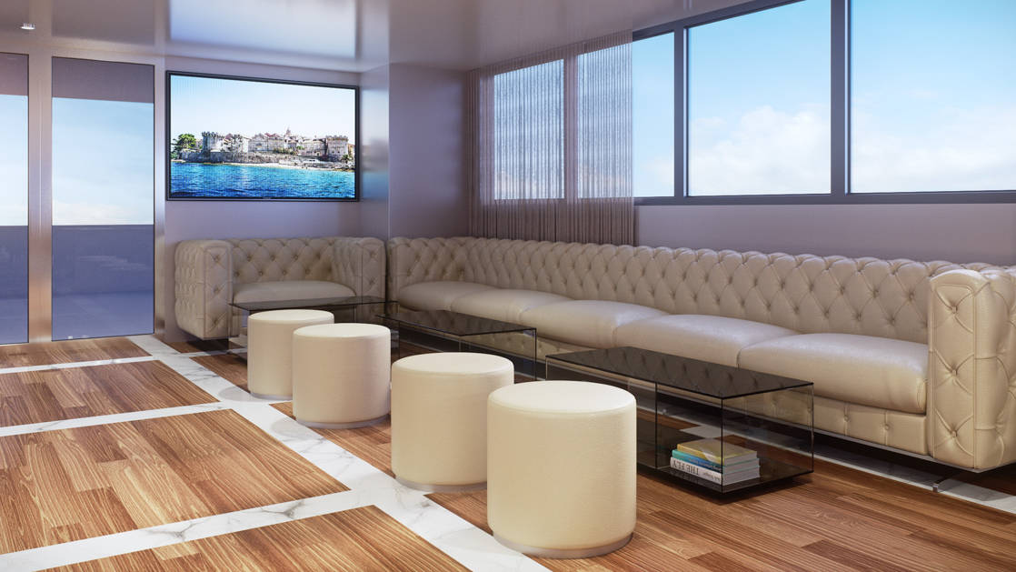 Rendering of Aurelia 2020 Mediterranean deluxe yacht showing the Lounge with wood-and-marble flooring, glass coffeetables, TV on wall & long white leather couch beneath large windows.