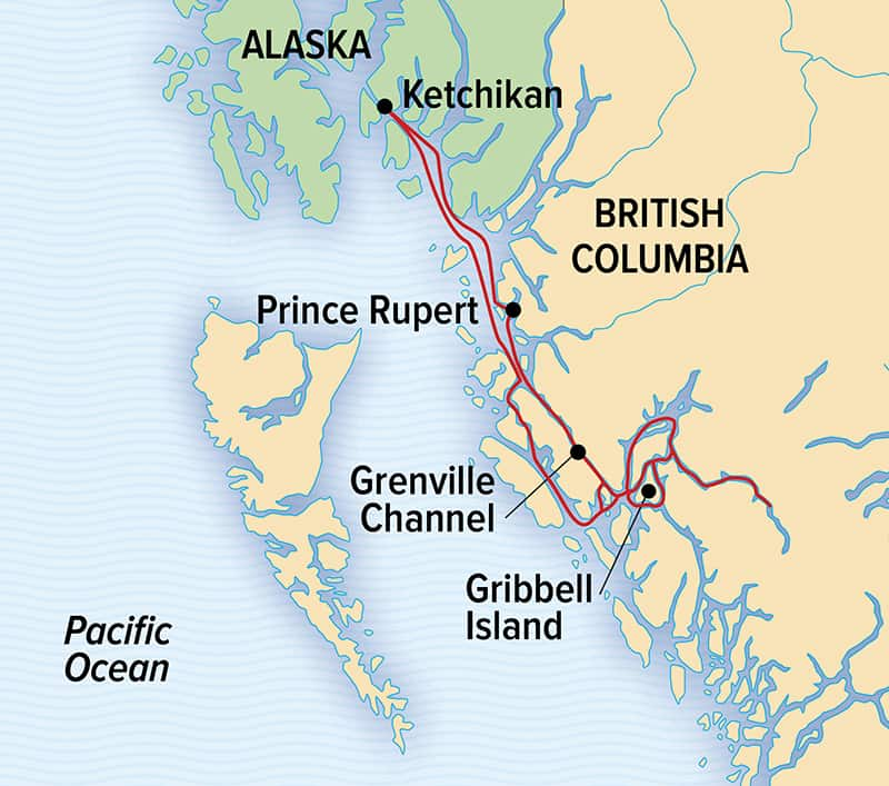 Route map of Great Bear Rainforest Cruise, operating round-trip from Prince Rupert, British Columbia, with visits to Prince Rupert, British Columbia & Union Passage Provincial Marina Park.