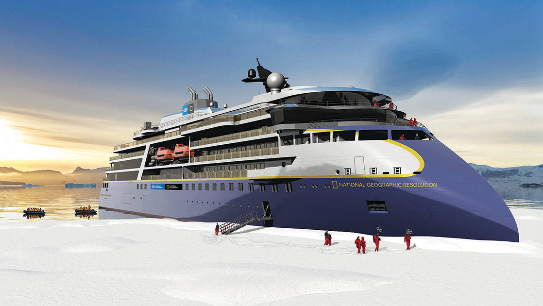 Rendering of the National Geographic Resolution polar expedition ship's exterior, parked nose into the ice with travelers ashore on a sunny day.