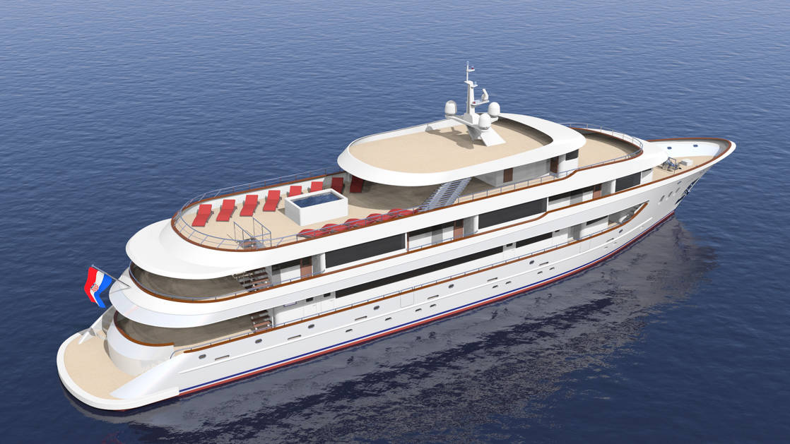 Rendering of the exterior of Rhapsody Croatia boutique yacht, with 5 decks and the top deck featuring red chaise lounge chairs.