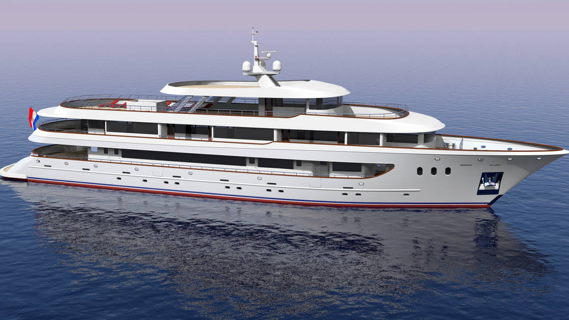 Rendering of exterior starboard side of Rhapsody Croatia boutique yacht with 5 decks.