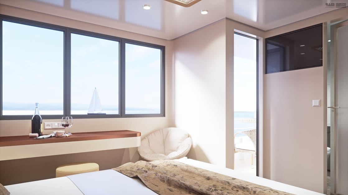 Rendering of view from bed to VIP Upper Deck cabin doorway with a white papasan chair beside a long countertop holding wine and snacks beside large view windows looking out to a distant sailboat, aboard Rhapsody Croatia boutique yacht.