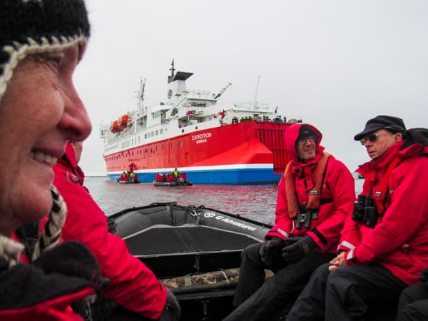Guests in red jackets on their way back to the ship Expedition