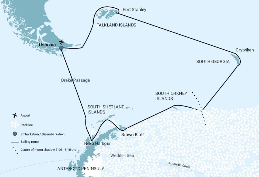 Route map of Polar Solar Eclipse small ship cruise, operating round-trip from Ushuaia, Argentina, with stops at South Georgia, the Falkland Islands and the Antarctic Peninsula.