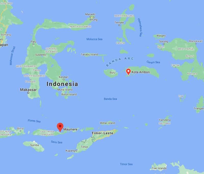 Route map of East Indies Spice Exploration Indonesia small ship cruise, operating between Maumere & Ambon, through the Banda Sea.