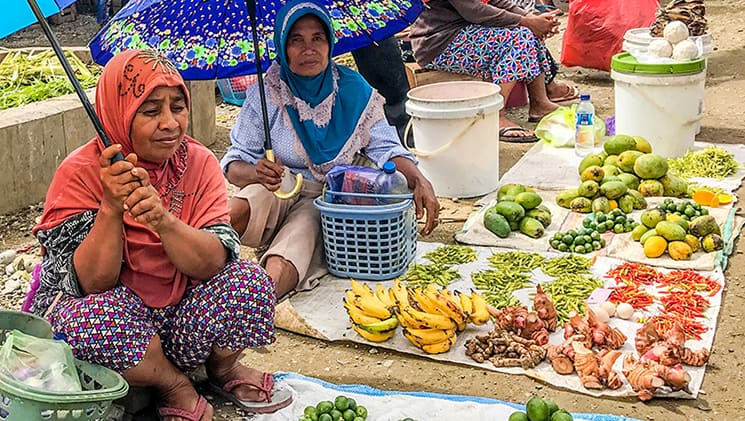 Two women holding umbrellas & sitting at a village market with fruits for sale on blankets in front of them, in Indonesia.