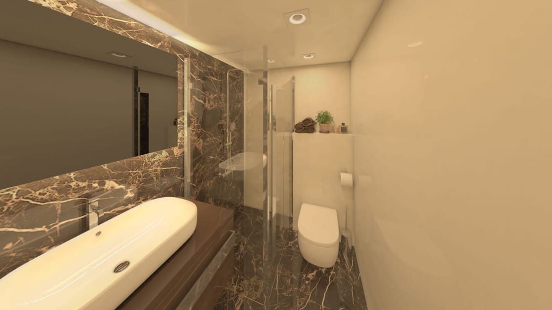 Rendering of deluxe Mediterranean yacht Adriatic Sky, showing cabin bathroom with wide raised sink basin, glass shower, toilet, large rectangular mirror over sink and marble accents.