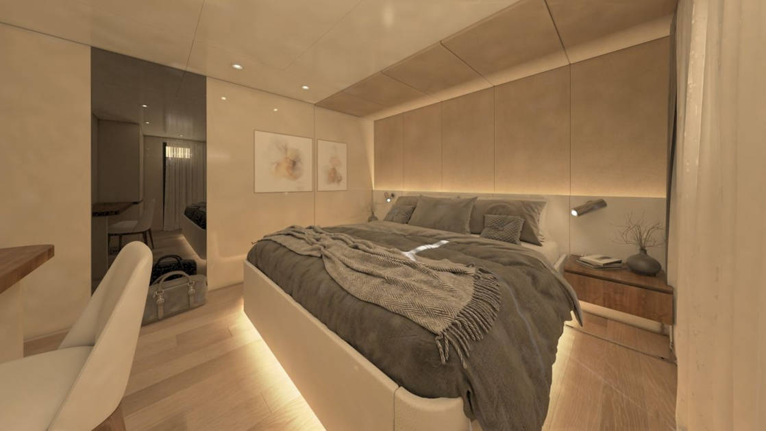 Rendering of deluxe Mediterranean yacht Adriatic Sky, showing cabin with underlit double bed, desk and chair, plush gray bedding & tan accents.