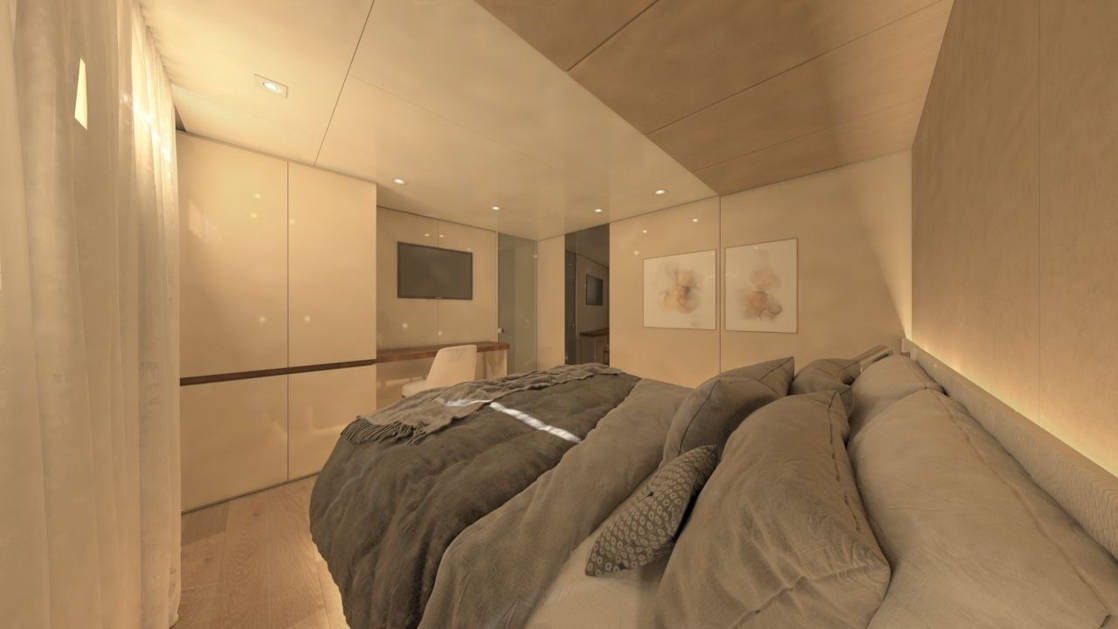 Rendering of deluxe Mediterranean yacht Adriatic Sky, showing cabin from double bed's view with closet, desk, chair, artwork on wall & doorway into second section of the cabin.
