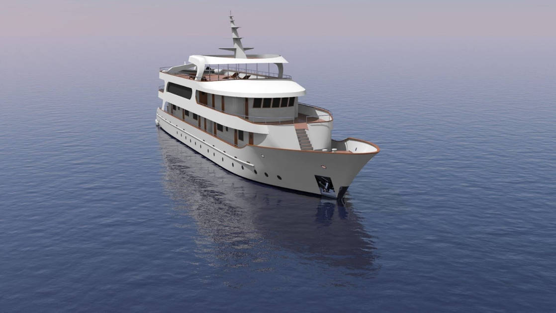 Rendering of deluxe Mediterranean yacht Adriatic Sky showing exterior looking straight onto bow with stairway to a viewing area.
