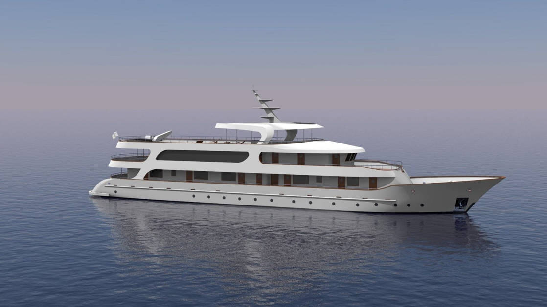 Rendering of deluxe Mediterranean yacht Adriatic Sky, showing exterior starboard side with four passenger decks.