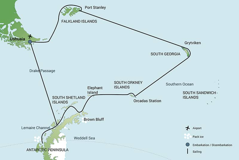 Route map of South Georgia & Polar Circle Wildlife Cruise in Antarctica, including visits to the Falklands, South Orkney Islands, Elephant Island & the Peninsula.