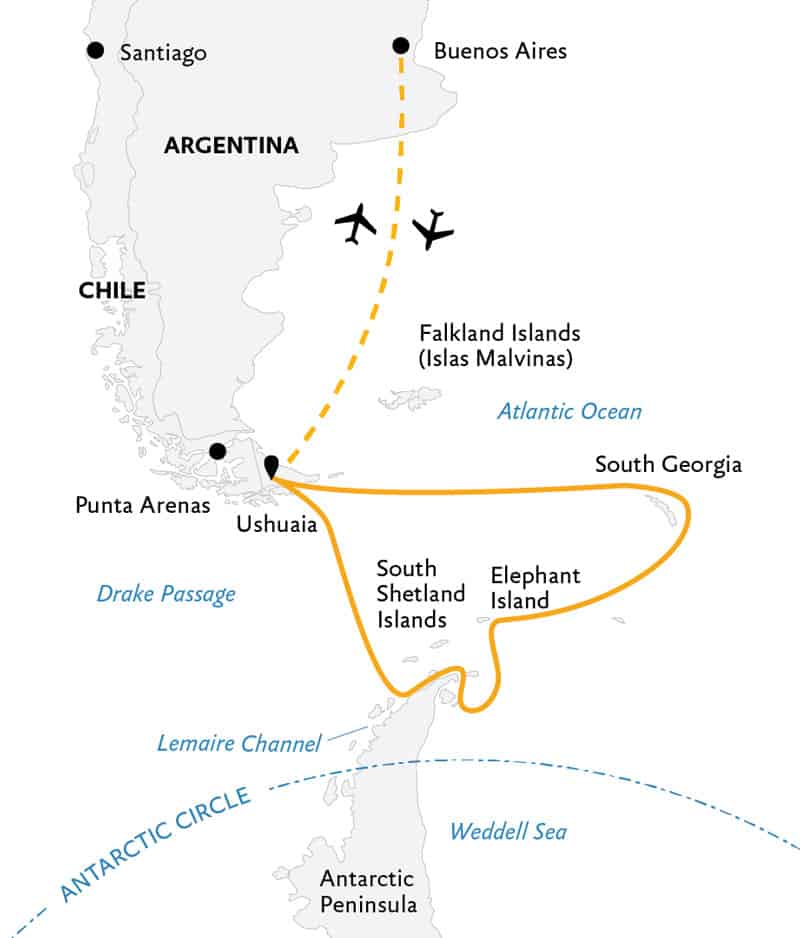 Route map of Celebrating Shackleton expedition, operating round-trip from Buenos Aires, Argentina, with visits to South Georgia Island, Elephant Island, the Weddell Sea, the South Shetland Islands & the Antarctic Peninsula.