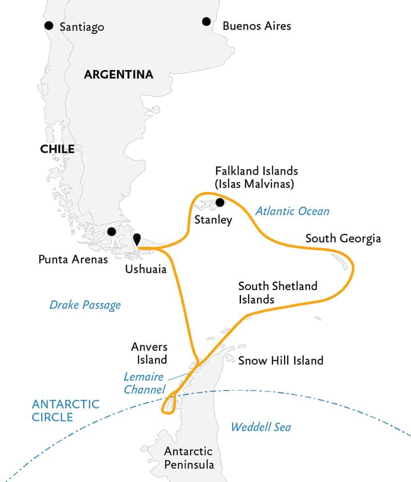Route map of Epic Antarctica 23-day voyage, operating round-trip from Ushuaia, Argentina, with visits to the Falkland Islands, South Georgia, the Peninsula & the Antarctic Circle.