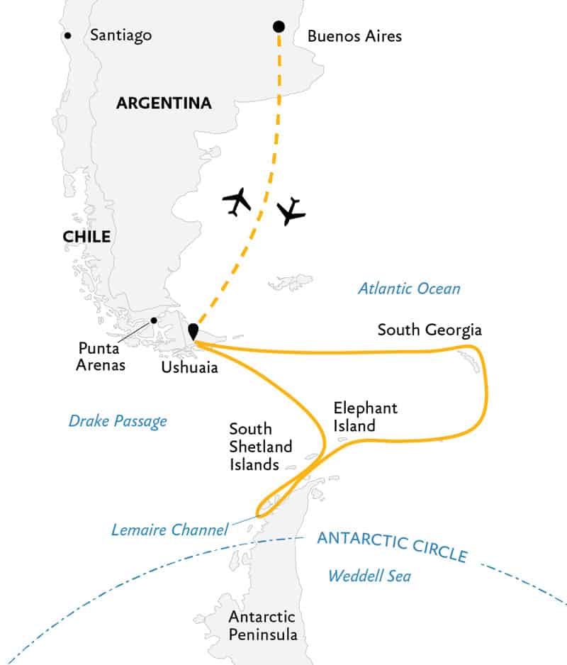 Route map of Penguin Safari expedition, operating round-trip from Buenos Aires, Argentina, with visits to South Georgia Island, the South Shetland Islands & the Antarctic Peninsula.
